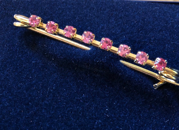 Gold with Pink Stone Stock Pin