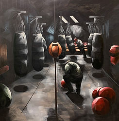 At the Gym I. Oil on Canvas.135cmx150cm.
