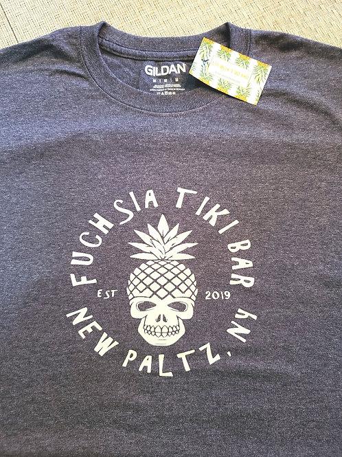 Pineapple Skull Vinyl Print Tee- Heather Blue
