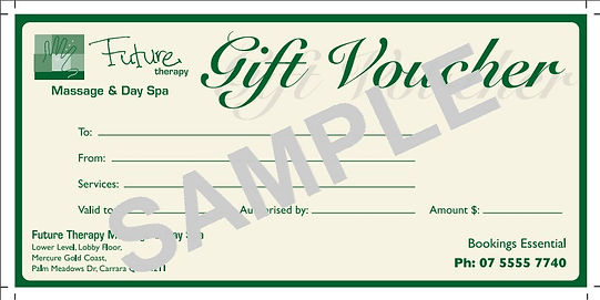 image of gift voucher at Future Therapy Remedial Massage and Day Spa
