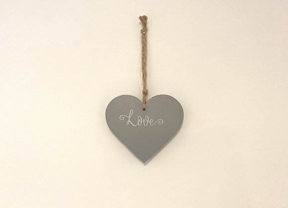 Handpainted Grey Wooden Heart