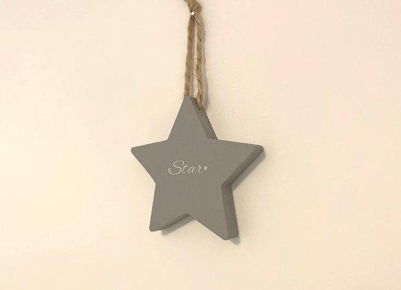 Handpainted Grey Wooden Star