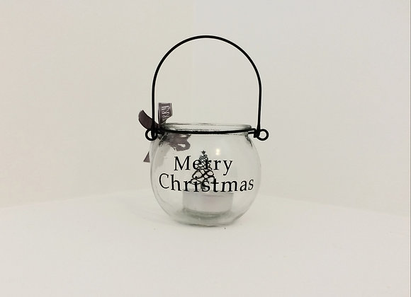 Small Glass Bauble Candle Holder -Tree