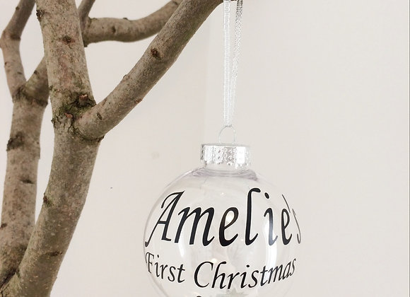 Clear Hanging Bauble - First Christmas