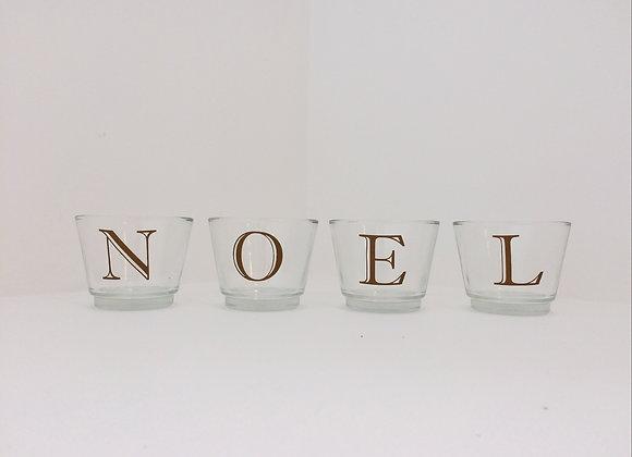 Glass Votive Candles - Noel Motif (Gold)