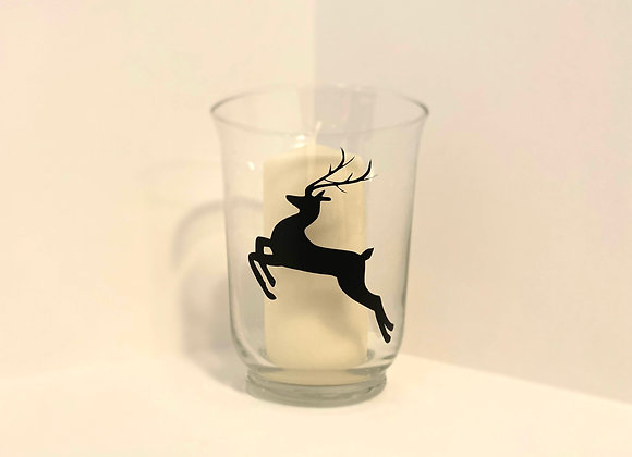 Glass Hurricane Candle - Leaping Stag