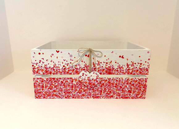 Large Decoupage Wooden Crate - Hearts