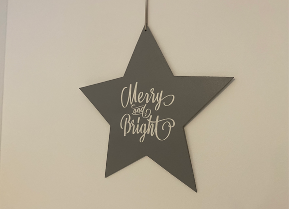 Large Handpainted Grey Wooden Star - Merry & Bright