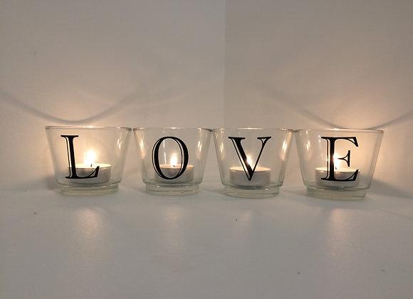 Glass Votive Candles - Love Motif (Black)