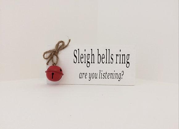 Handpainted Wooden Shelf Sitter - Sleigh Bells