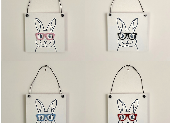 Bespectacled Bunny Handmade Mini Signs