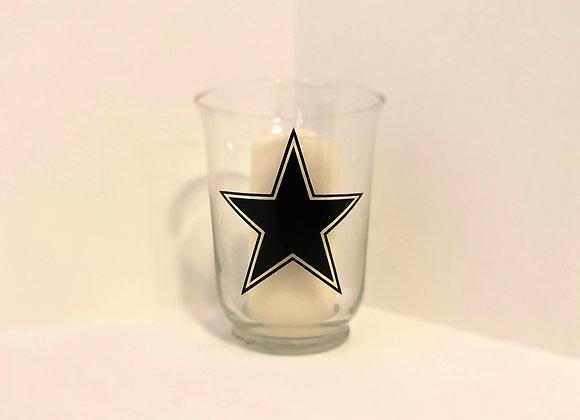 Glass Hurricane Candle - Star