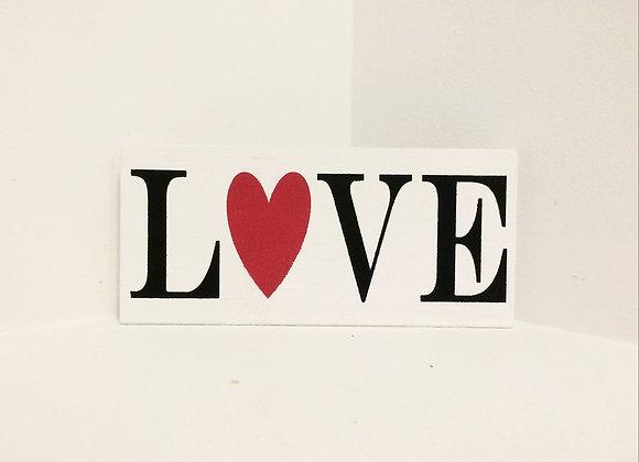 Love Handpainted Wooden Shelf Sitter