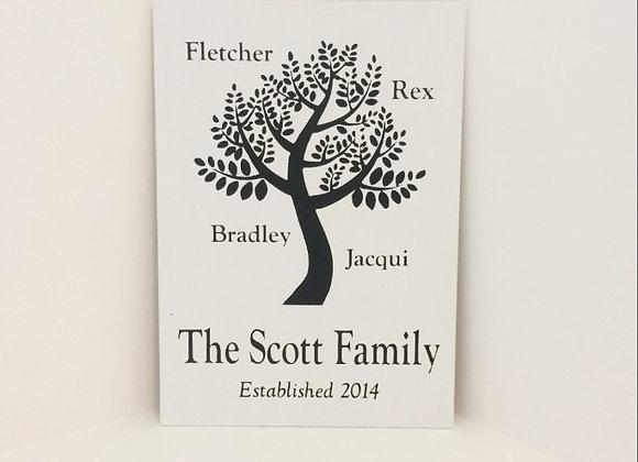 Handpainted Sign - Family Tree
