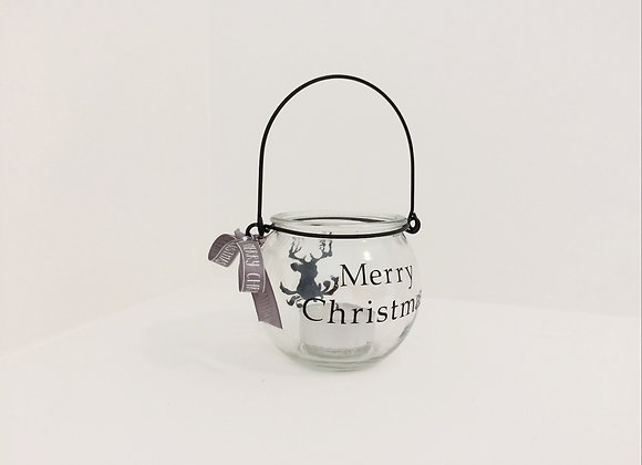 Small Glass Bauble Candle Holder - Reindeer