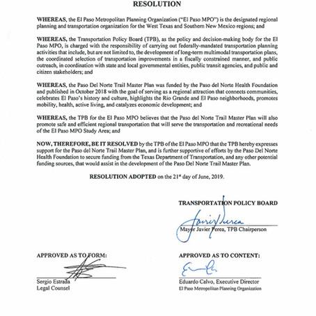 El Paso Metropolitan Planning Organization Expresses Support for the Paso del Norte Trail