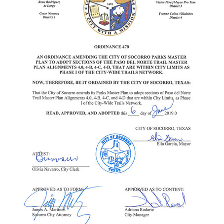 The City of Socorro officially supports the PDN Trail!