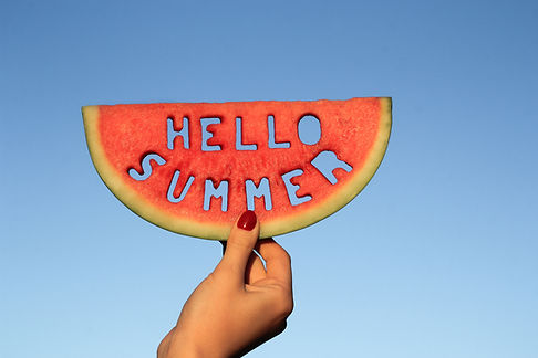 Watermelon slice  with text Hello Summer