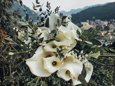 Allestimento Floreale con Calle e Mughetto per Matrimonio sul Lago di Como
