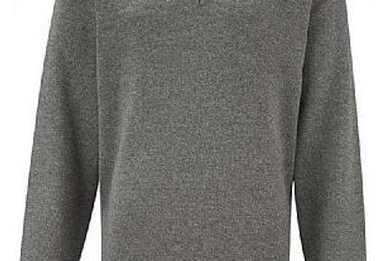 Grey Knitted Vneck jumper - Unisex
