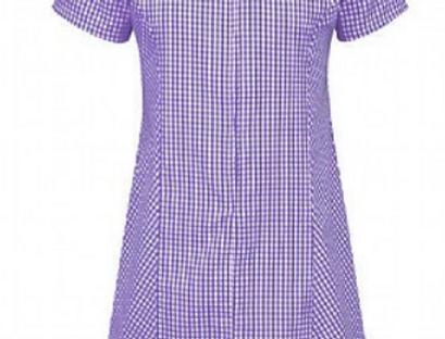 Purple +White Gingham Summer Dress