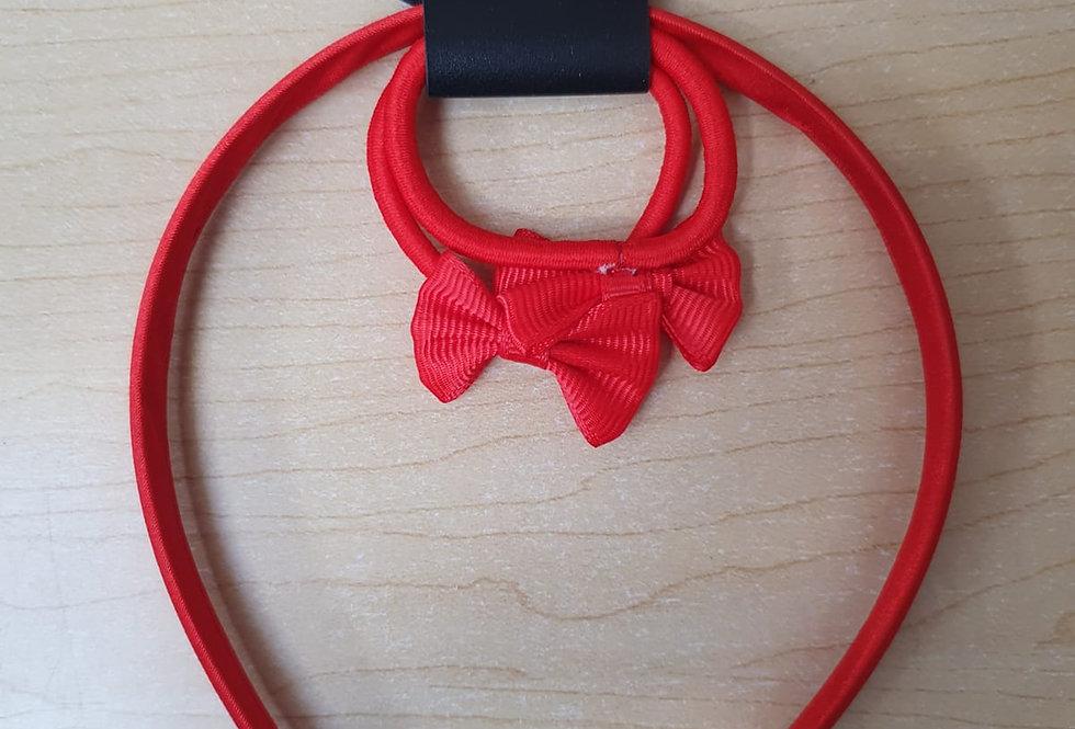 Bow Alice Hairband + 2 elastics - Red
