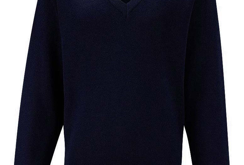 Navy Knitted V-Neck Jumper (Greasby Juniors)