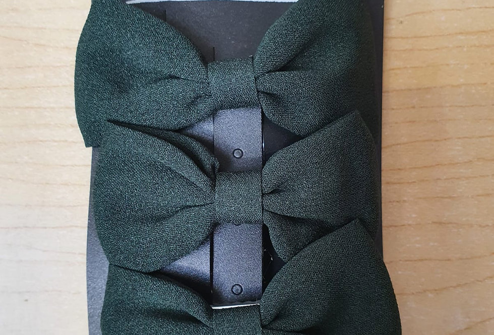 3 Pack of bows - Bottle green