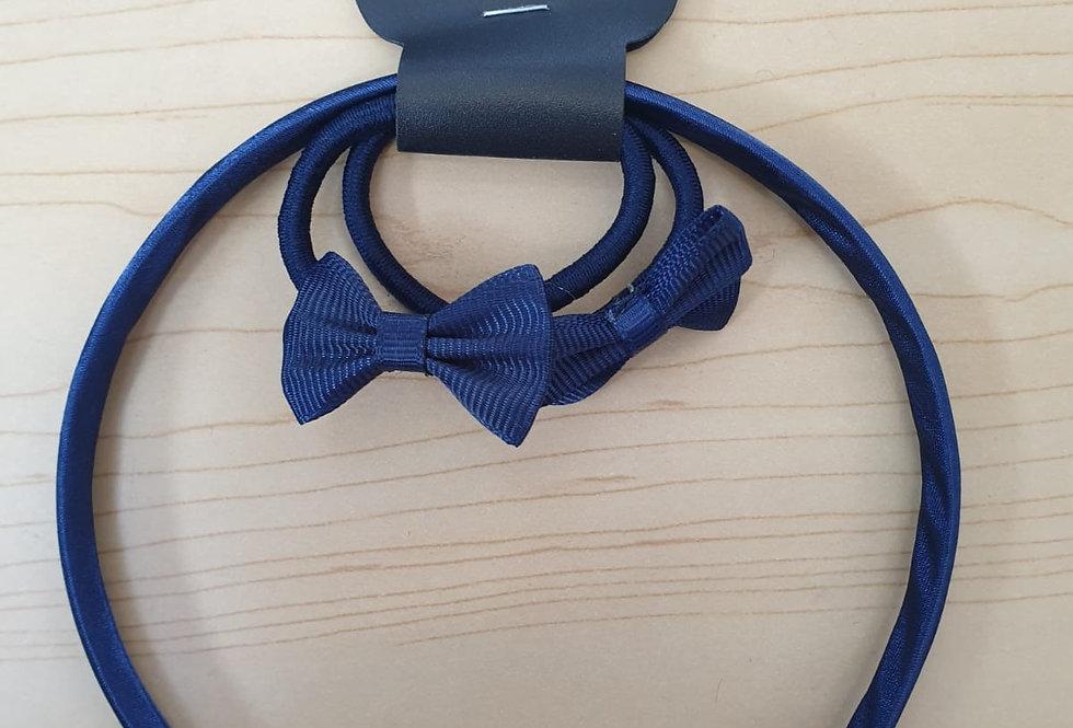 Bow Alice Hairband + 2 elastics - Navy