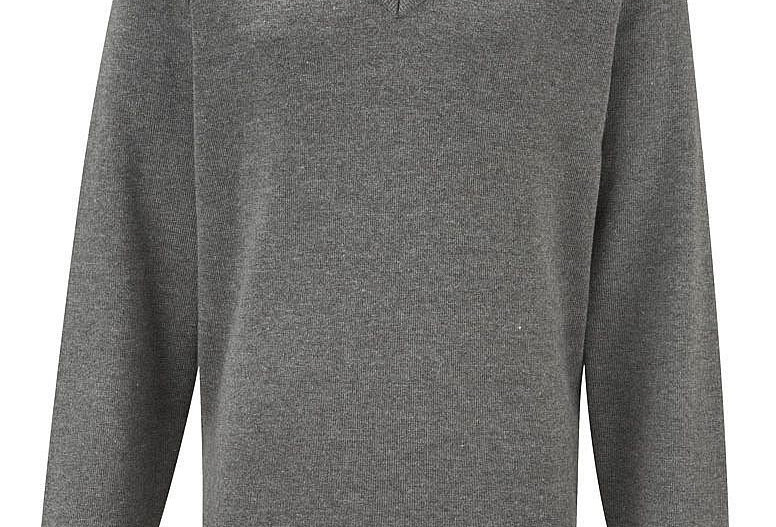 Grey Knitted V-Neck Jumper