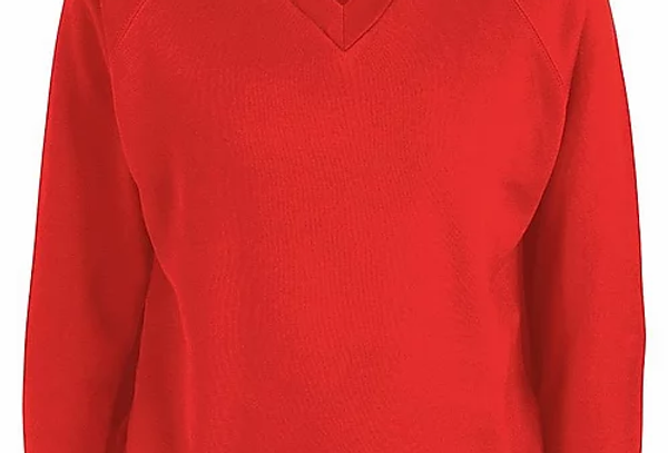 Red V-Neck Sweatshirt (Leasowe Primary)