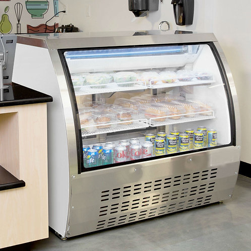 "47"" White Curved Glass refrigerated deli case"
