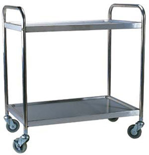 "Choice Knocked Down Stainless Steel 2 Shelf Utility Cart - 33 3/4"" Long"