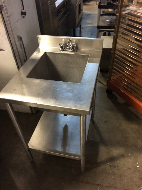 SINGLE POT SINK WITH TAPS - ALL STAINLESS STEEL