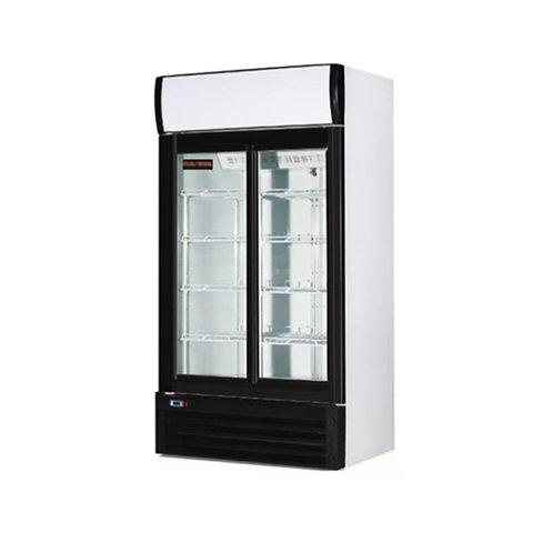 40' wide glass door cooler