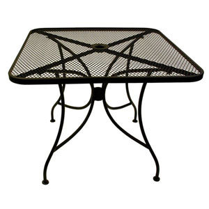 "30"" x 48"" RECTANGULAR MESH TOP OUTDOOR TABLE W/ UMBRELLA HOLE"