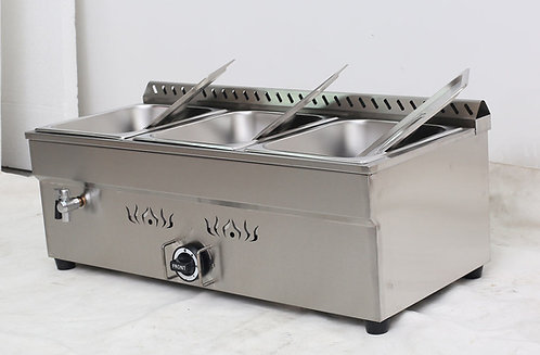Three well 1/2 size pan propane food warmer