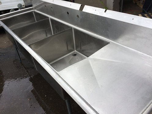 3 COMPARTMENT STAINLESS STEEL SINK - HAS APPROVAL STICKER