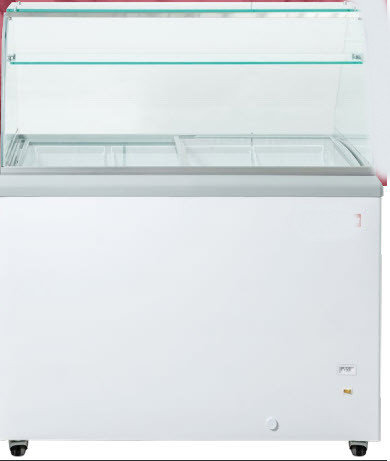 8 tub ice cream dipping cabinet with sneeze guard