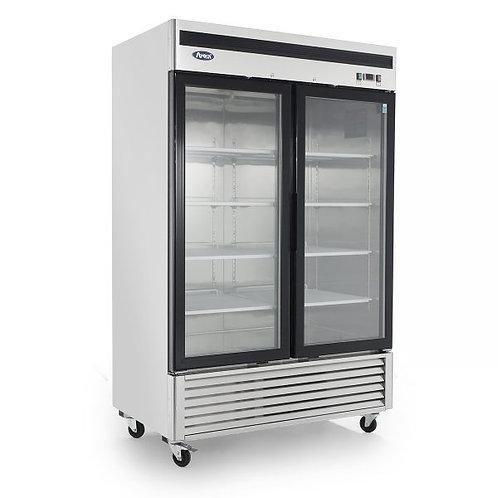 2 glass door upright display freezer