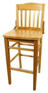 WOODEN SCHOOL HOUSE CHAIR - BAR  HEIGHT