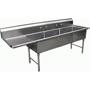 """3 COMPARTMENT 24"""" SINK WITH LEFT HAND DRAINBOARD - With approval sticker"""