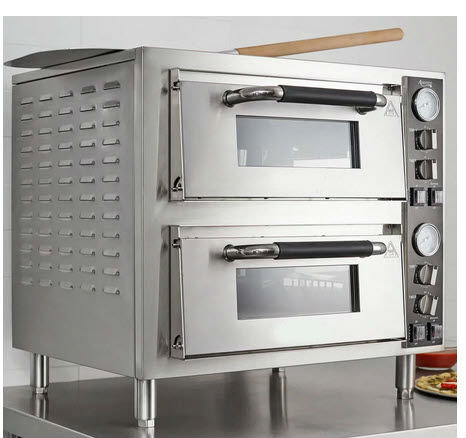 Double Deck Countertop Pizza Oven with Two Independent Chambers - 3200W, 240V