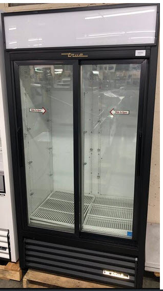 True 2 door upright glass door display refrigerator