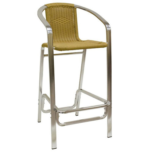 ALUMINUM BAR STOOL W/ SYNTHETIC BAMBO BACK AND SEAT