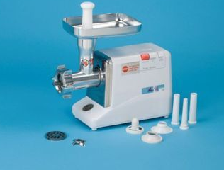 #12 ELECTRIC MEAT GRINDER, W/PLATES AND TUBES