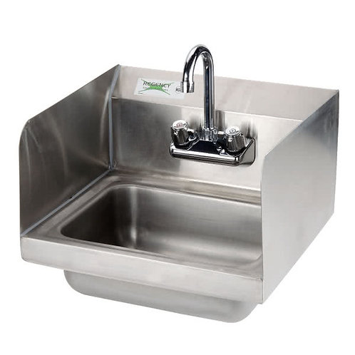 "15"" WIDE STAINLESS STEEL WALLMOUNT HAND SINK WITH FAUCET & SPLASH GUARD"
