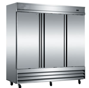 3 Door Reach In Refrigerator Stainless Steel 120V - 72 Cubic Feet