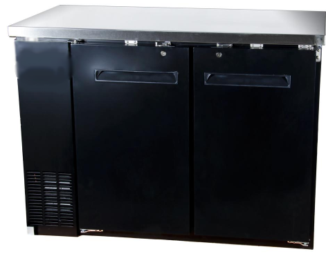 """48"""" Solid Door Back Bar Refrigerator with Stainless Steel Top and LED Lighting"""