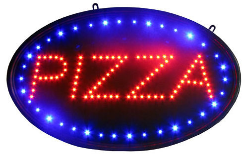 Oval Pizza Led Sign Neon Light 13 Inch 24 Inch Bright Business Sign With Tracers